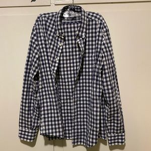 J crew blue plaid button up, size xl slim